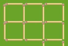 火材棒智力4 移动3根火柴杆,放在适当的位置后,使图中只有5个正方形。
