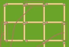 火材棒智力5 请你移动其中的3根火柴,使它进行180度转弯(如图)